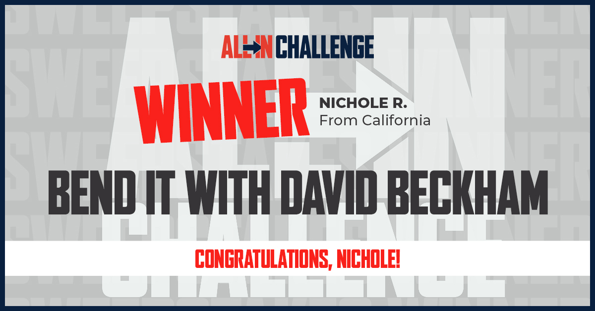 Congratulations Nichole R.! We hope that you are pumped to bend it with David Beckham! We appreciate you going ALL IN and supporting the fight against food insecurity. #ALLInChallenge https://t.co/x5Iz1dpb9O