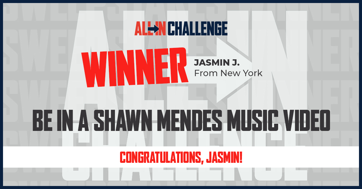 Congratulations Jasmin J.! We hope that you are excited to be in the next @ShawnMendes music video! We appreciate you going ALL IN and supporting the fight against food insecurity. #ALLInChallenge https://t.co/RuvdggbQnb