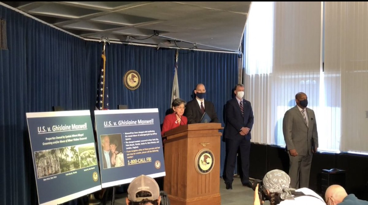 This afternoon I joined @SDNYnews & @NewYorkFBI to announce the arrest of Ghislaine Maxwell for her role in the sexual exploitation & abuse of underage girls by Jeffrey Epstein.  🎥 ➡️ https://t.co/vNpxziBiM7 https://t.co/s94stO39JB