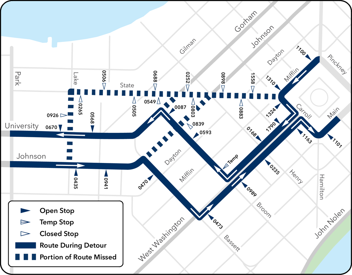 RT @mymetrobus: DETOUR ALERT: Starting tomorrow, 7/3 at 6:35pm, Routes 2, 4, 6, 7 & 8 will not serve State St. through the end of service on Sunday, 7/5. Bus stops are available on the Square, W. Washington & University/Johnson. bit.ly/2BzF0Nj