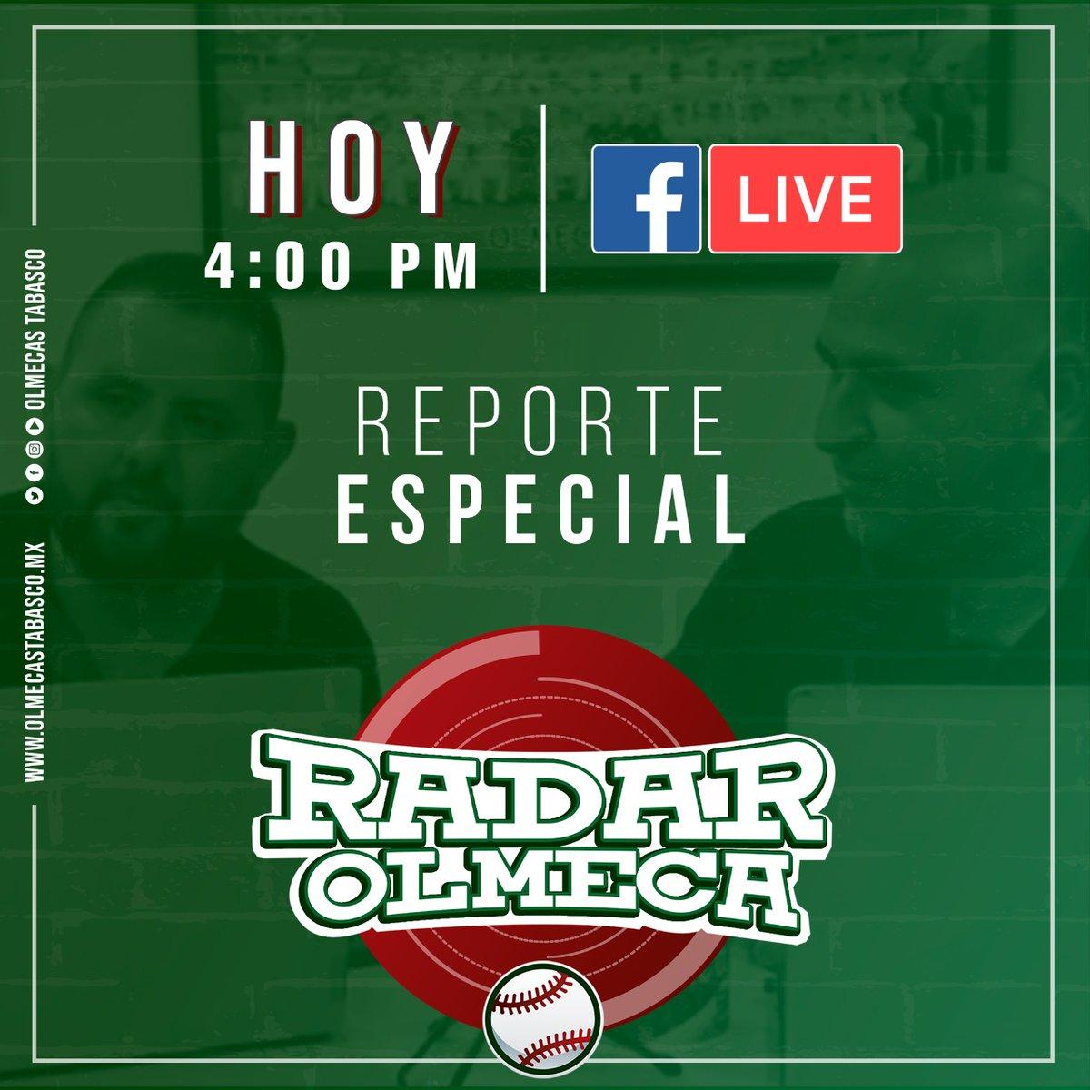 #ReporteEspecial 📽️ Los esperamos a las 4:00 pm en nuestro Fb live.  #SomosOlmecas ⚾ https://t.co/E361tvBMh6