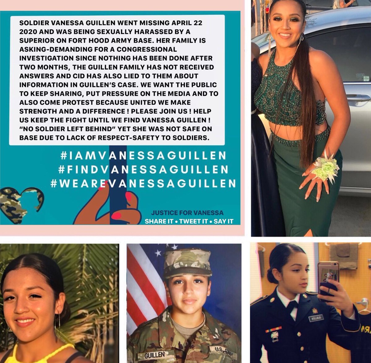 """PLEASE KEEP SHARING ! THEY SAY """"NO SOLDIER LEFT BEHIND"""" YET VANESSA WAS NOT SAFE ! WE WILL NOT STOP UNTIL WE FIND VANESSA GUILLEN, SAY HER NAME ! SIGN, PROTEST, OR DONATE ! PLEASE RAISE AWARENESS ! #FindVanessaGuillen  #IamVanessaGuillen  #JusticeForVanessa  #WeAreVanessaGuillen"""