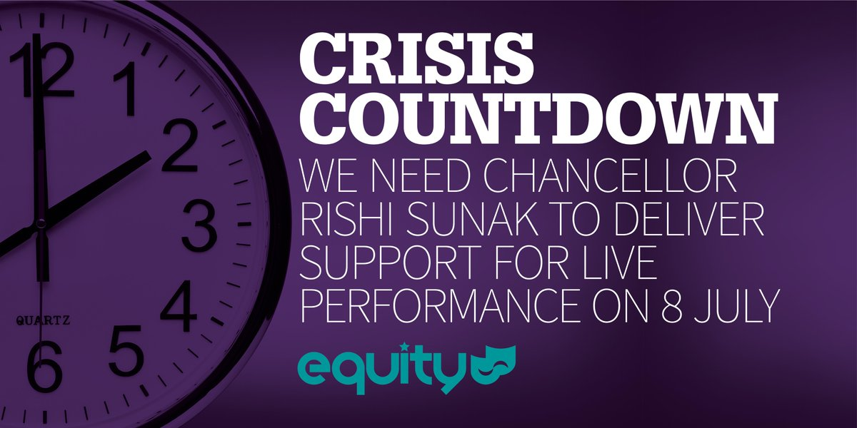 CRISIS COUNTDOWN: We need the Chancellor to announce support for creative workers and their workplaces in his economic update on 8 July. Support @EquityUKs plan for the recovery of live performance: equity.org.uk/roadmap-respon… @RishiSunak @OliverDowden