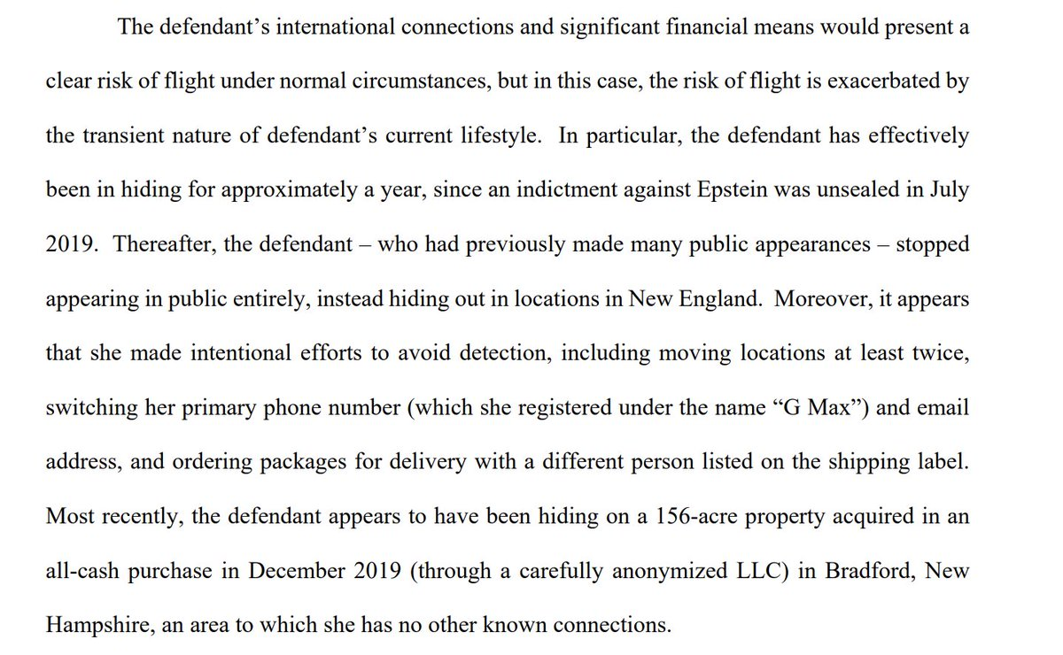 Government says Ghislane Maxwell has gone to extensive lengths to stay hidden in New England since Epsteins indictment incl moving twice, getting a new cell phone, ordering packages under diff name, and purchasing New Hampshire residence in all cash purchase through LLC