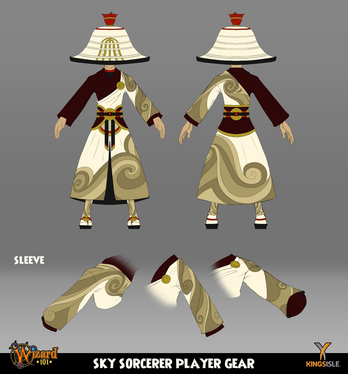 Here's the player gear for the Sky Sorcerer in the Heavenly Palace Bundle. A fun gear set to work on, especially the swirling texture! @Wizard101 @KingsIsle #wizard101 #heavenlypalace #skysorcerer #swirl #staff #fantasyart #videogameart #conceptartpic.twitter.com/EjQUKIuybL