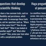 Image for the Tweet beginning: Ask questions that develop scientific