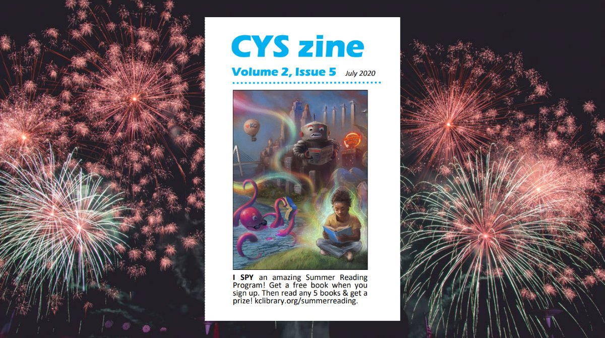 The July 2020 Central Youth Services Zine is out!  You can download, print, and make this 16-page monthly mini magazine filled with books, jokes and more!  https:// bit.ly/2NS7QuR     #kcSummerReads <br>http://pic.twitter.com/7Did5BThck