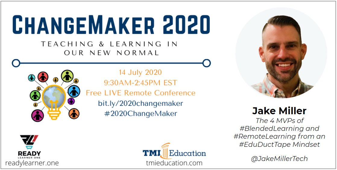 I'm honored to be part of the #2020Changemaker FREE virtual PD conference for educators on Tuesday, July 14th! Registration: https://t.co/smYeKw3CAb https://t.co/N9KJKE1oKF