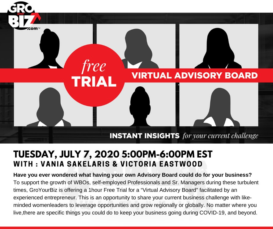 Only 3 spots left to join our July 7th #FreeTrial Advisory Board Session! Save your spot and register now: http://groyourbiz.com/blog/1hr-free-trial/… #TogetherAtHome #PeerSupport #SupportForBusiness #WBO #WomenEntrepreneurs #WomenInBusiness #PeerSupportForWomen #BusinessGrowthpic.twitter.com/ddogqn7uS5