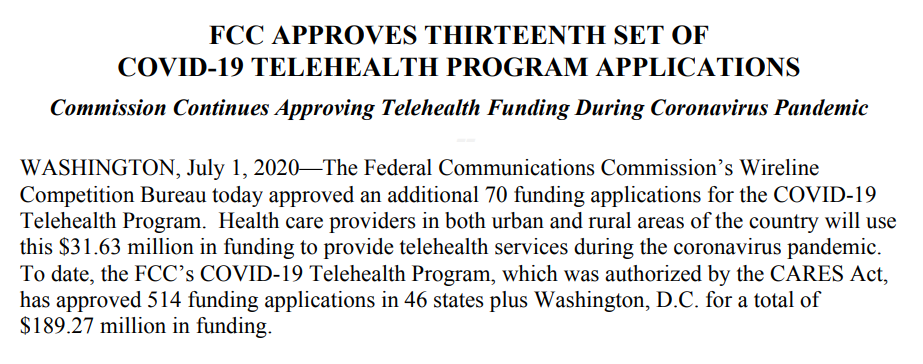 ICYMI, the @FCC yesterday approved 70 more applications for over $31M in its #COVID19 #Telehealth Program! It'll help providers and patients alike benefit from connected care, from @AtriusHealth in Auburndale, MA to @tccfamilyhealth in Long Beach, CA. https://t.co/MzqWU083Jr https://t.co/736LMNKFOq