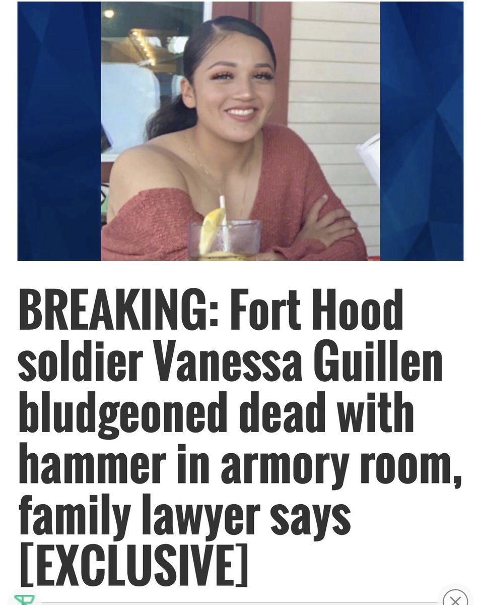 Your telling me she died in the armory room with her blood all over the place as evidence ON BASE and it took this long for them to find her and find out who did it ??!! FORT HOOD COVERED IT UP!!!!   #VanessaGullien https://t.co/iL3KXk9JVN