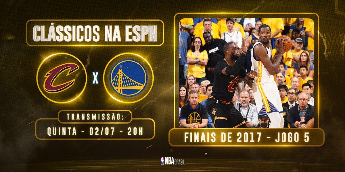 Nesta quinta, às 20h, a @ESPNBrasil exibe o Jogo 5 das #NBAFinals de 2017. Relembre o duelo que deu o quinto título da história para os @warriors!  #NBAnaESPN https://t.co/326XtltxSH