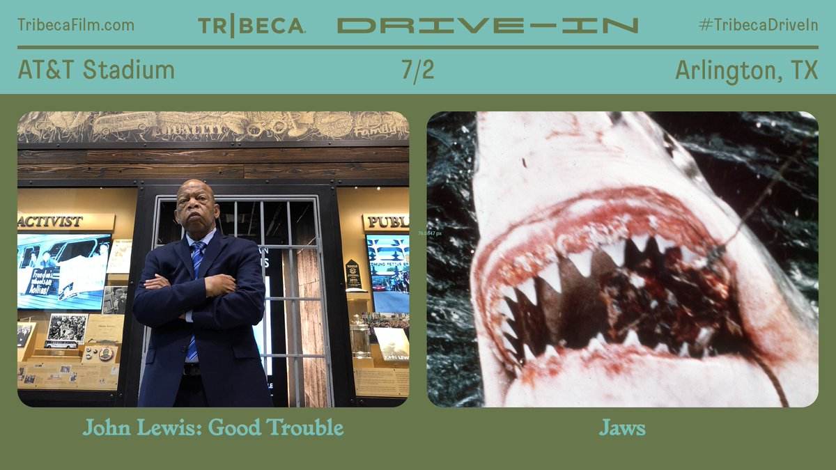 """‼TODAY the @Tribeca Drive-In begins at #ATTStadium. ‼  Tonight's #TribecaDriveIn is an essential worker appreciation night. For essential workers, click """"Free w/Ticket"""" to attend this special screening of """"Jaws.""""   Tickets are limited — get yours at https://t.co/AIdNN9Ss0E https://t.co/OGcZhhrtC1"""