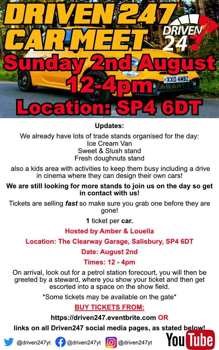 Updates for our event in August, have a read! Tickets selling fast so get one before they are gone! £5 per car! https://www.eventbrite.com/e/driven-247-car-meet-tickets-111301890952?aff=efbeventtix …  #abarth #cars #bournemouth #dorset #carshow #carmeet #afcb #salisbury #fiat #vw #vauxhall #honda #ford #mini #car #supercars #classiccarspic.twitter.com/6xJ1T9bgvw