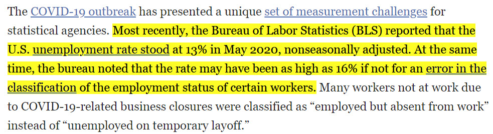 The @BLS_gov data released today may not be believable. Based on their miscalculation the May unemployment rate was 16.4% (not 13%) and they highly misrepresent lower-income workers. BLS data is more than 2X off ADP's numbers. https://t.co/DuLYqvVFcp https://t.co/8I6oez1IdP
