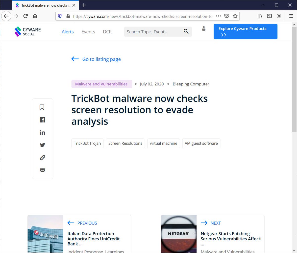 How is this even on the first page of search results? Below is the entire content of the page. I have nothing against Cyware, good for them. But how is this a good search algo?