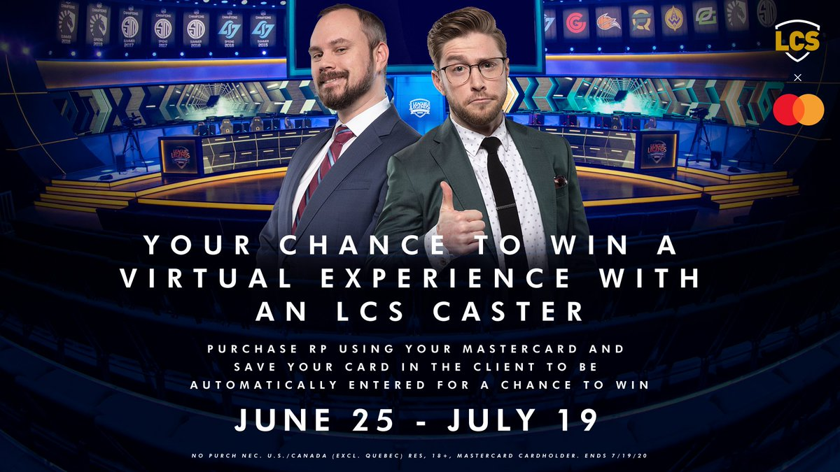 Hey #LeagueOfLegends players! Use & save your Mastercard in-game to be entered for a chance to win an exclusive virtual experience with an #LCS caster! No Purch Nec. U.S./Canada (excl. Quebec) res, 18+, Mastercard cardholders. Ends 7/19/20. Rules & Info: watch.lolesports.com/article/master…