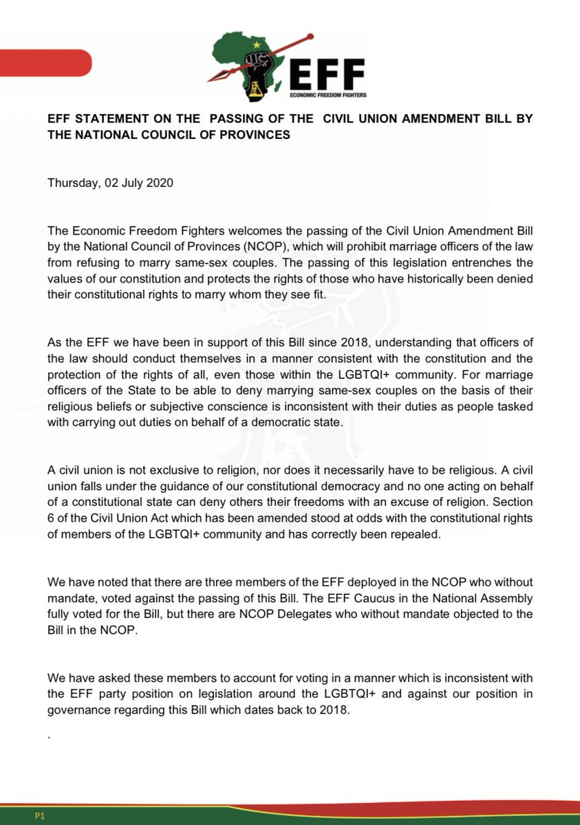 MUST READ: EFF Statement on the Passing of the Civil Union Amendment Bill by NCOP .