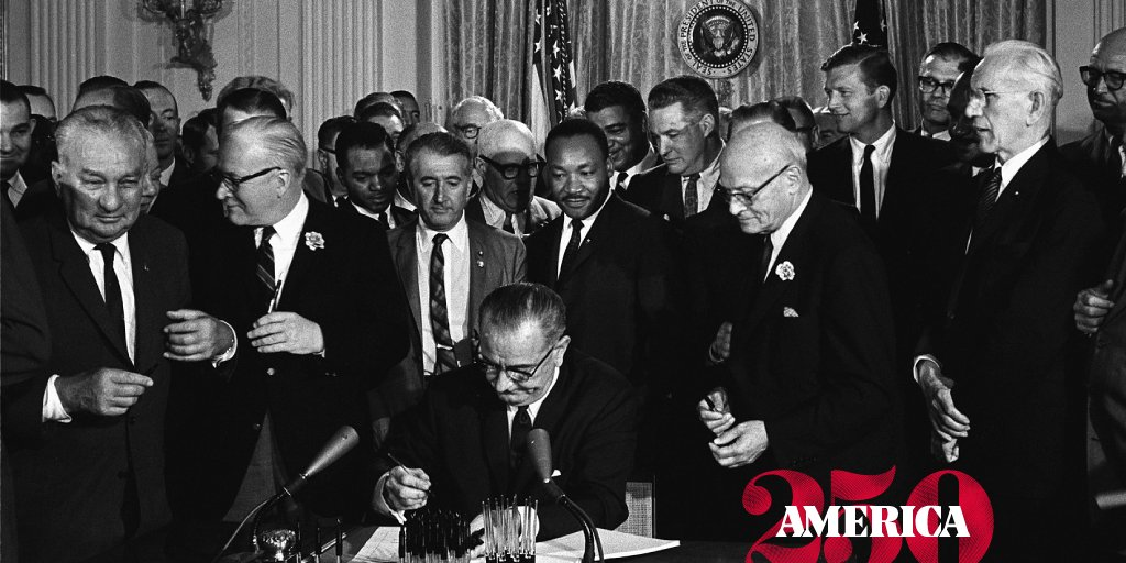 President Lyndon B. Johnson signed the Civil Rights Act of 1964 #onthisday, a major victory for the Civil Rights movement. The legislation declared that discrimination for any reason on the basis of race, color, religion, sex, or national origin was illegal. <br>http://pic.twitter.com/yfbKvUKrHP