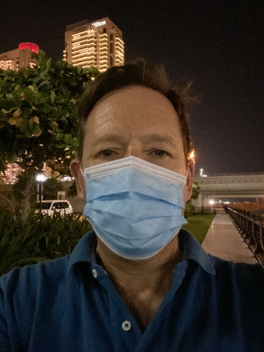 In other news, it is so hot and humid in #doha tonight that I'm about to dissolve into a puddle of sweat. But I'm still wearing a mask. For your safety not mine. As you were. pic.twitter.com/psUwo6z7wO