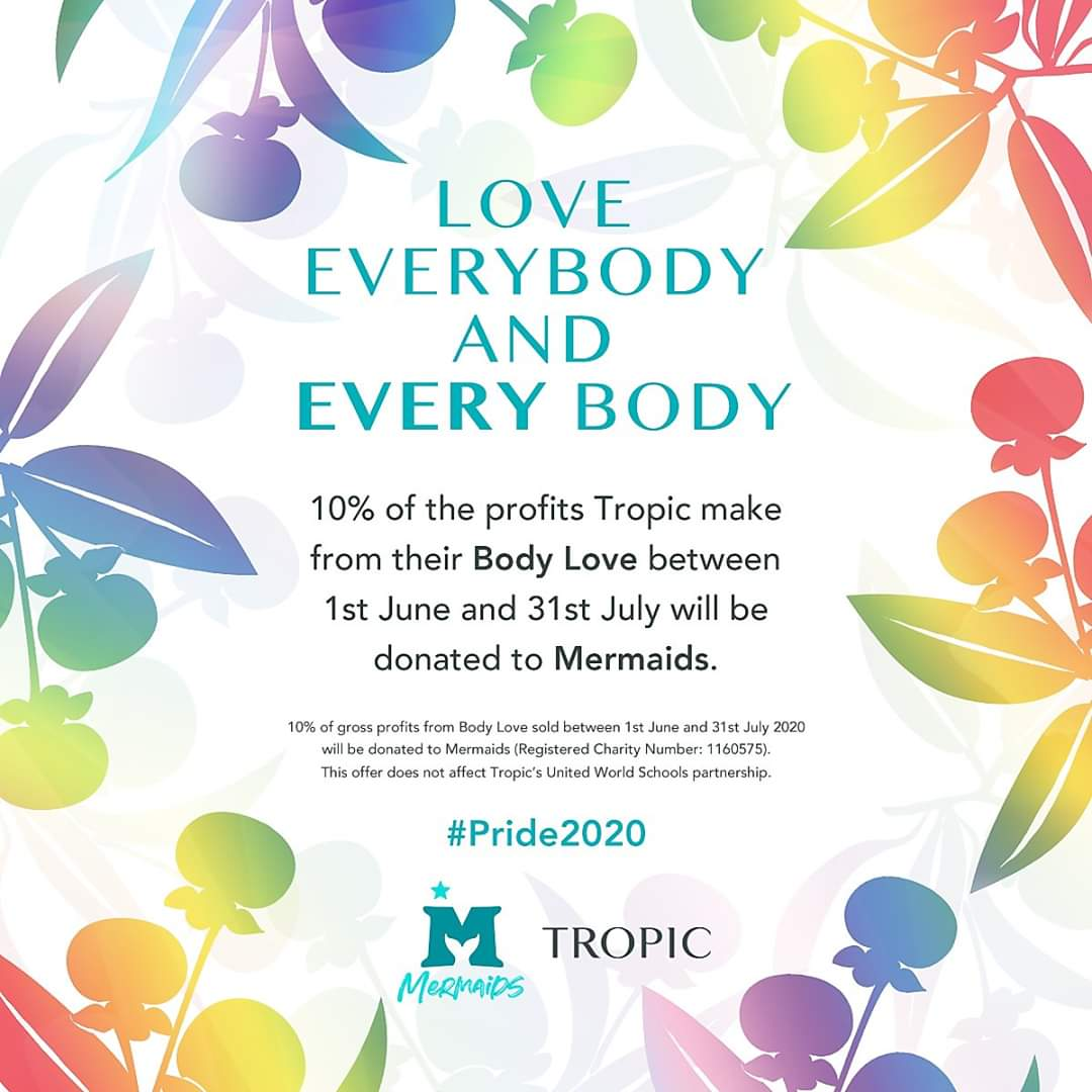 #covhour From 1st June to 31st July,  10% of the profits Tropic Skincare make from our Body Love to Mermaids who support young people who struggle with their gender identity https://mermaidsuk.org.uk/about-us/  Shop- http://www.tropicskincare.com/kriswarren . #alllivesmatter2020pic.twitter.com/8wDTI28srq