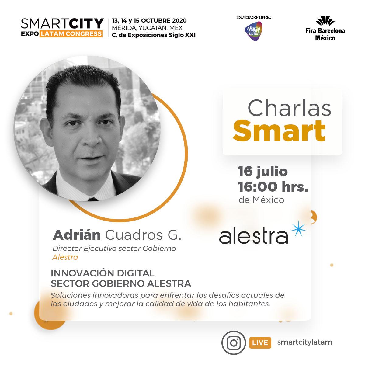 """Informamos a toda nuestra comunidad de #SCELC que la #CharlaSmart """"Innovación Digital sector Gobierno Alestra"""", programada para hoy, 2 de julio, ha sido re programada para el jueves 16 de julio de 2020 a las 16:00 Hrs. México. https://t.co/OA17jkTEkS"""