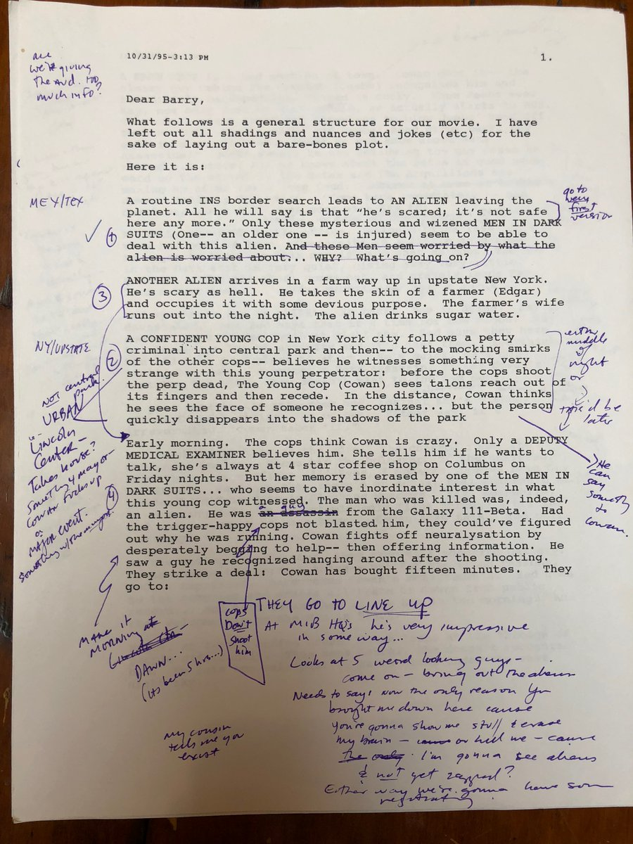 In honor of Men in Black opening 23 yrs ago today, heres a letter I wrote to Barry Sonnenfeld re-outlining the movie. My 1st draft took place all across the US - with the finale in Nevada. Barrys had the great idea to set it in NYC, which he felt was more rife w aliens.