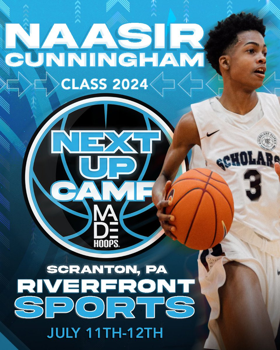 """📈 2024 6'6"""" G Naasir Cunningham is one of the most impressive scorers in the country in his class. He's NEXT UP!  🗓: July 11th-12th, 18th-19th, & 25th-26th ⛹️: Classes 2021-2026 🏟: Riverfront Sports 📍: Scranton, PA 🎥: Live Streamed  Register: https://t.co/Pwy8j4Nvqa https://t.co/QUjUu7xlAc"""