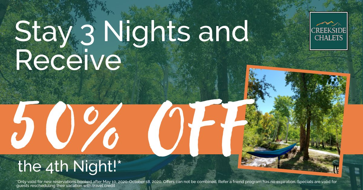 Stay 3 nights at The Chalets and get 50% OFF your 4th night! Book your stay today at http://CreeksideChalets.com/  #chalet #lovemountains #cabin #cabinlife #nature #travel #cabinlove #vacation #cabinliving #petfriendly #lovepets #ecofriendly #Salida #Colorado #CreeksideChaletspic.twitter.com/ekJABpqimt