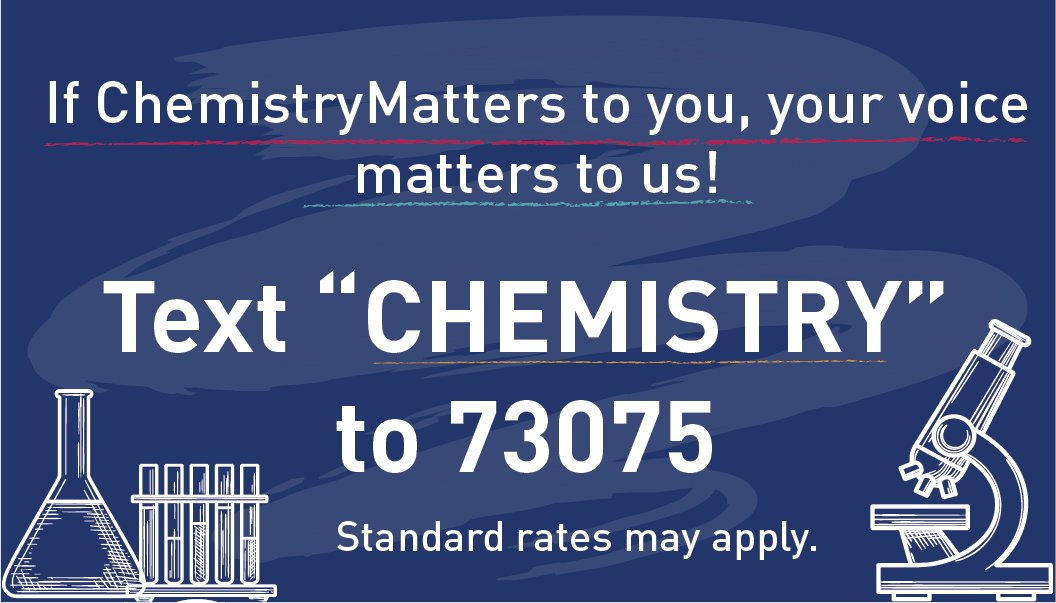 Are you signed up for #ChemistryMatter Issue Updates? Be sure to sign up today to get the latest news on all things chemistry!  You can join #TeamChemistry by: ➡️ Clicking this link: https://t.co/5W33vK6JQX ➡️ Texting CHEMISTRY to 73075. (Standard rates may apply) https://t.co/h5uz60bj8M