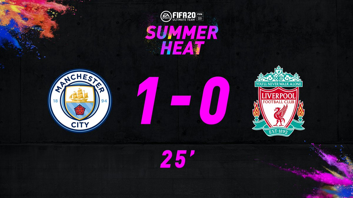 Fireworks, literal and figurative, but a penalty sees the deadlock between @ManCity and @LFC broken. 1-0 to City! 92 Phil Foden takes the lead in the quest for the +3 OVR upgrade 👀 Who do you see getting on the scoreboard next? 🤔