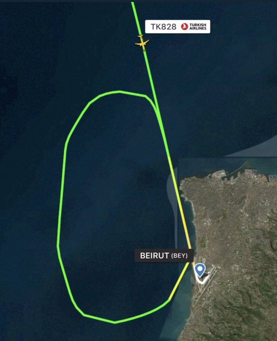 More on this: I am told the flight is TK828 that arrived today from Istanbul to #Lebanon airport but was held in air because lights gone off on runway https://t.co/Kem80YkLO6