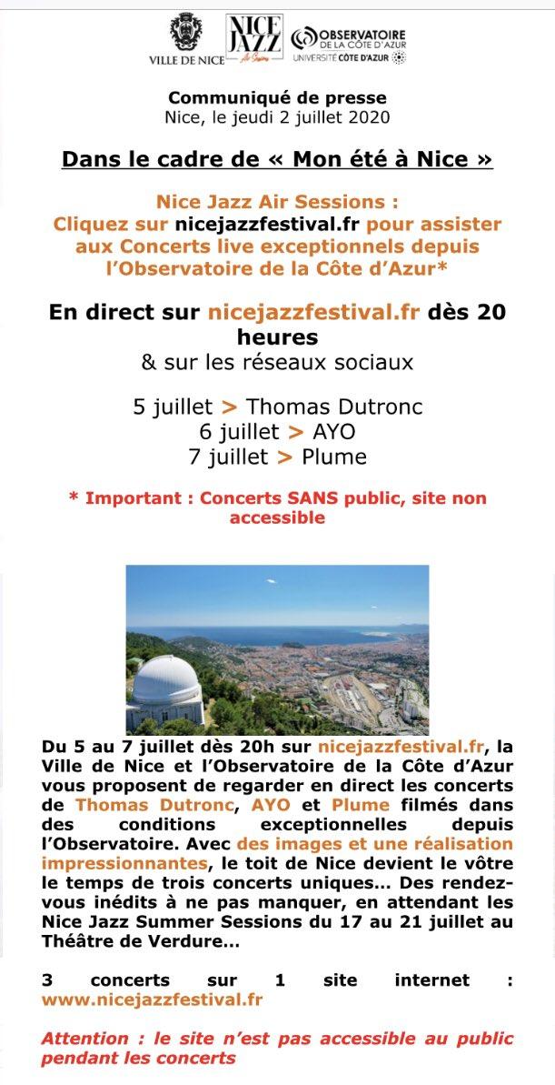 #Nice06 #Concerts #MonEtéaNice #NiceJazzFestival #NJF2020 #ThomasDutronc #Ayo #Plume #SapeursPompiers #CoursSaleya #Cinéma #FestivalDeCannes #FDC #Cinéfondation #PalaisDesFestivals #Cannes   https://t.co/6ie1OWYHFC https://t.co/VYotFkhLnV