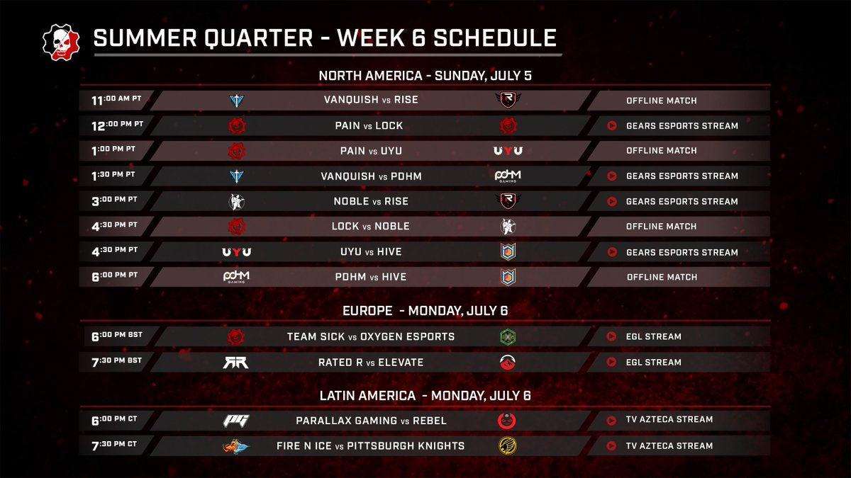 Week 6 Pro League Broadcast Schedule 🇺🇸 Only two points separate 3rd and 6th place 🇲🇽 @FireNIceEsports & @KnightsGG square off for the top spot in LATAM 🇪🇺 @TeamRated_R try to wrap up an undefeated Quarter against the reigning Spring Major champs, @ElevateGG Full schedule ⤵️