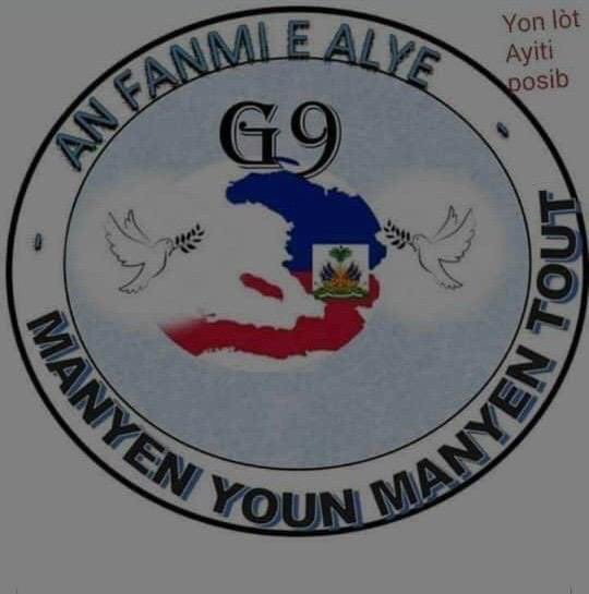 This is the logo for G9 Family & Allies, a new group formed in #Haiti by several so-called rival gangs that are now united for peace and social change.🤦🏾♀️  This is a desperate strategy by the US and UN to control the next election and prevent a leftist populist movement. https://t.co/hnu29EFM4H https://t.co/V87YAZxyog