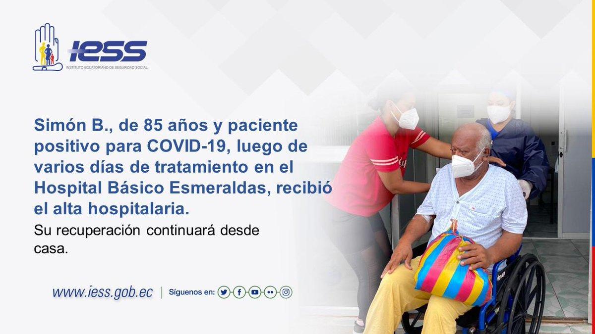 Así como Don Simón, más de 60 pacientes que fueron atendidos en el Hospital Básico Esmeraldas se recuperan del #COVID19 en sus hogares. Nuestra prioridad es verlos totalmente sanos. #IESSBuenasNoticias https://t.co/MFEcN2xb3W
