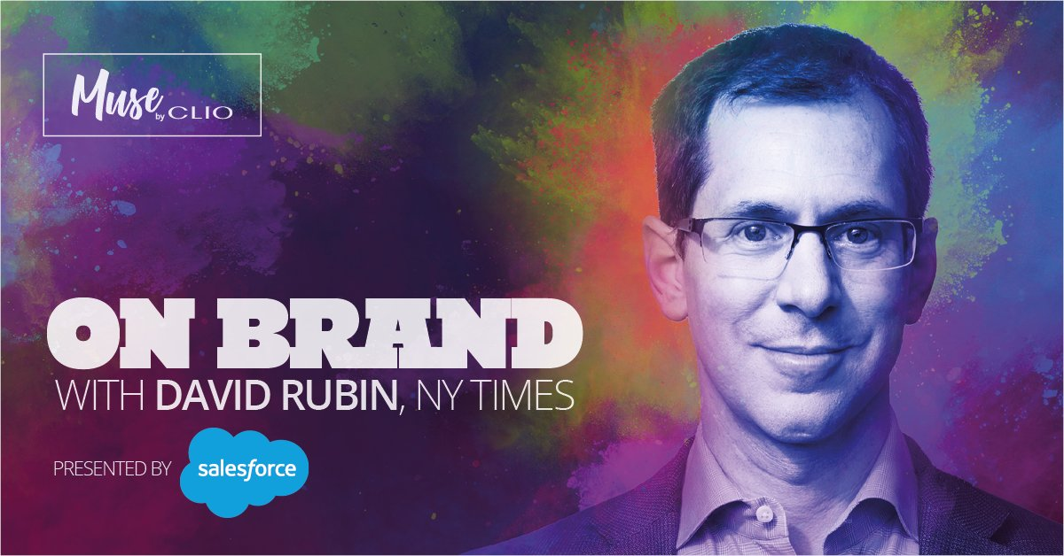 .@MUSEbyclio is On Brand with @nytimes CMO David Rubin (@drubs) right now. Watch the full interview: https://t.co/8FLDGEusw8  On Brand, presented by @salesforce, is a weekly video series in which @ClioNicole and @nudd talk with top brand marketers. https://t.co/1fS5azeAlf