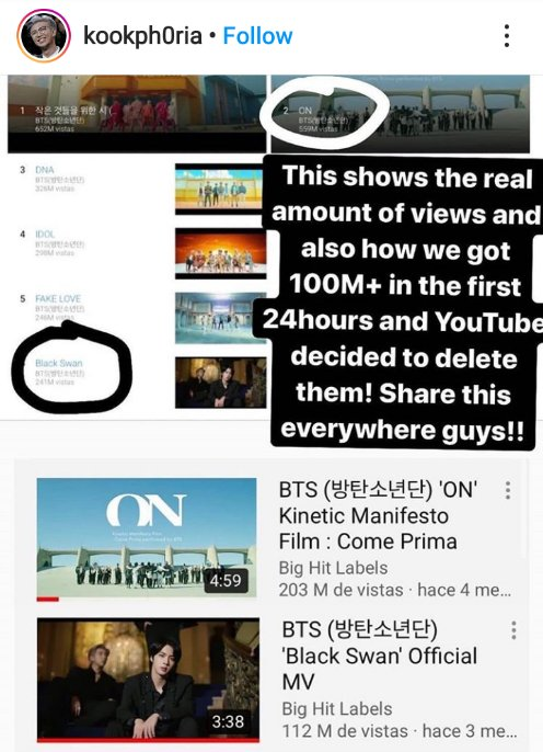 """#BTS real views and #ARMY streamed real good with ON. So stfu about """"On didn't get enough views"""" yeah @YouTube deleted that shit. 👁️_👁️ https://t.co/1lKYfwzzT1"""