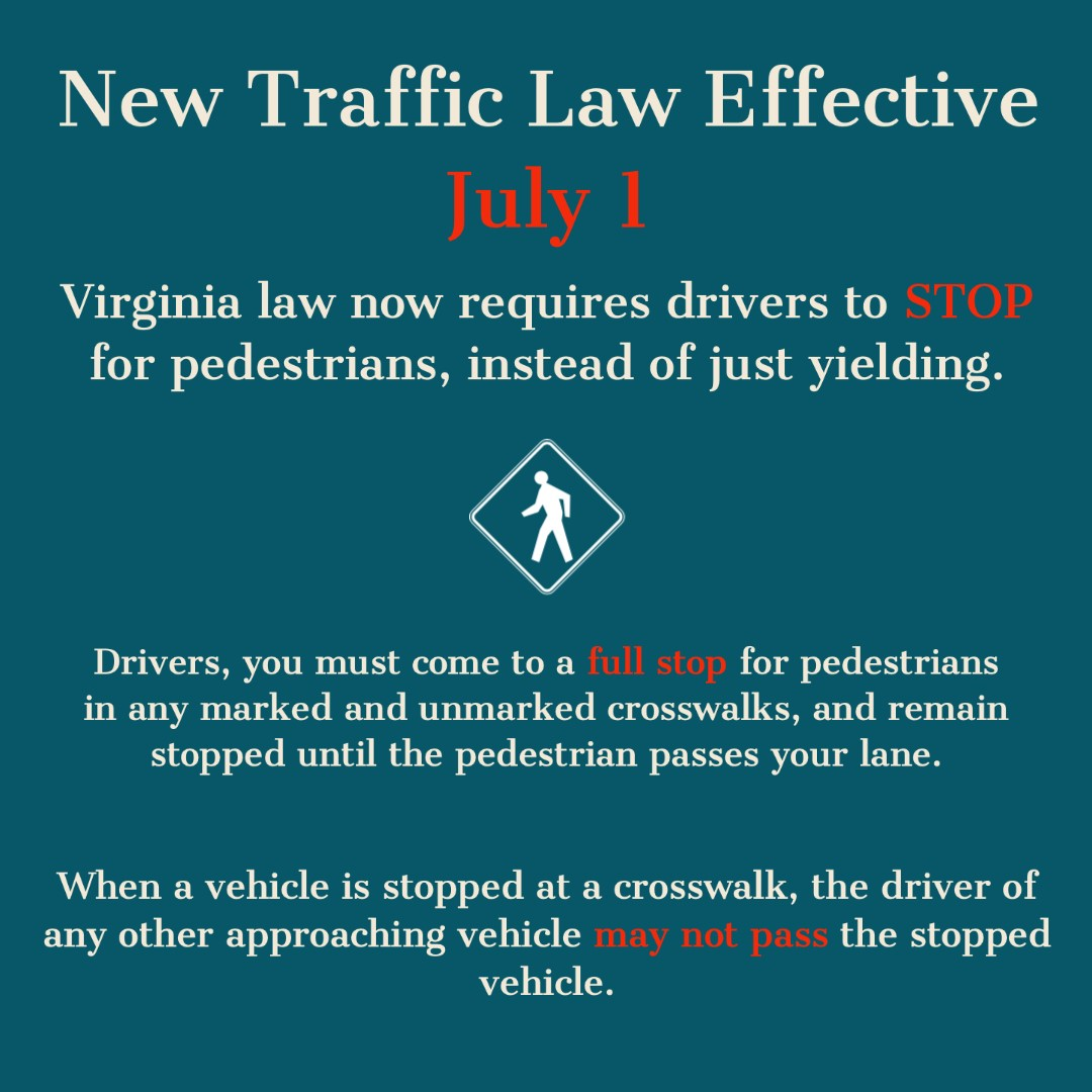 🛑Head's up, <a target='_blank' href='http://twitter.com/APSVirginia'>@APSVirginia</a> & <a target='_blank' href='http://twitter.com/ArlingtonVA'>@ArlingtonVA</a>! As of July 1, <a target='_blank' href='http://search.twitter.com/search?q=Virginia'><a target='_blank' href='https://twitter.com/hashtag/Virginia?src=hash'>#Virginia</a></a> Law requires drivers to STOP for pedestrians instead of just yielding! 🛑<a target='_blank' href='https://t.co/b736QFTERK'>https://t.co/b736QFTERK</a>  🏃🚶👩🦽🧑🦯 <a target='_blank' href='http://search.twitter.com/search?q=BeSafeBeSeen'><a target='_blank' href='https://twitter.com/hashtag/BeSafeBeSeen?src=hash'>#BeSafeBeSeen</a></a> <a target='_blank' href='http://twitter.com/arlsafestreets'>@arlsafestreets</a> <a target='_blank' href='http://twitter.com/walkarlington'>@walkarlington</a> <a target='_blank' href='http://twitter.com/ArlingtonVaPD'>@ArlingtonVaPD</a> <a target='_blank' href='http://twitter.com/ArlingtonDES'>@ArlingtonDES</a> <a target='_blank' href='https://t.co/GPECzinTFx'>https://t.co/GPECzinTFx</a>