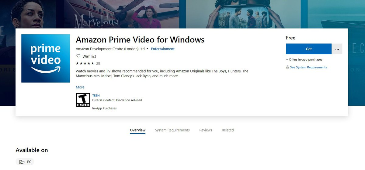 Amazon Prime Video launches Windows 10 desktop app