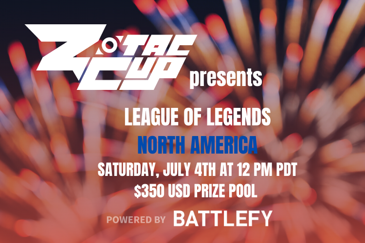 Celebrate with your fellow North Americans in Saturday's @ZotacCup #LeagueOfLegends tournament featuring a $350 USD prize pool! https://t.co/vGc404Posk https://t.co/sNfpQWPgGT