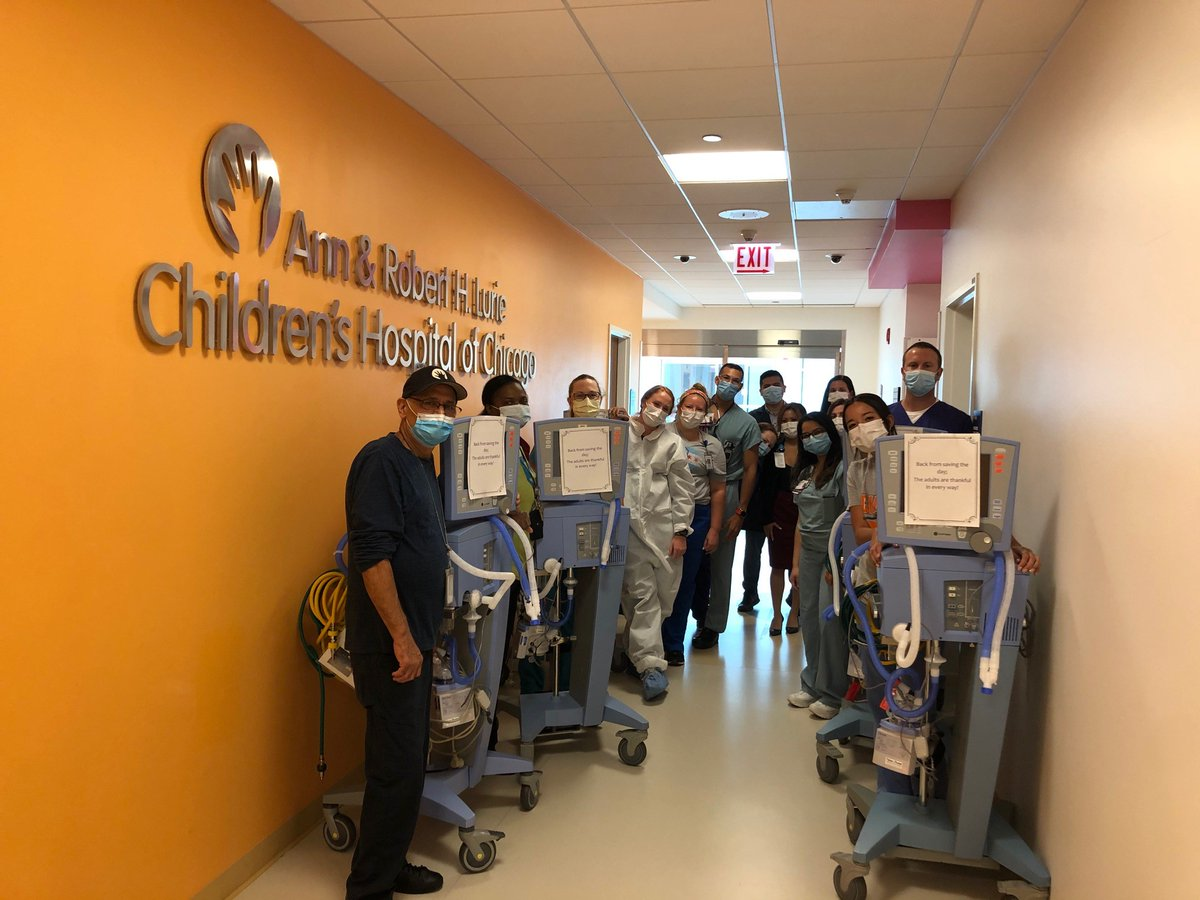 In April, we loaned several ventilators to help our adult partners in the fight against COVID-19. This week they came back to Lurie Childrens! #RTStrong #respiratorytherapist #covid19 #all4your1