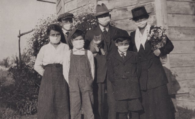 This family photo was taken during the height of the 1918 Flu Pandemic in the East Bay community of Dublin.   Over a hundred years ago — and even the cat knew to #WearADamnMask! https://t.co/HOw9OiD9jU