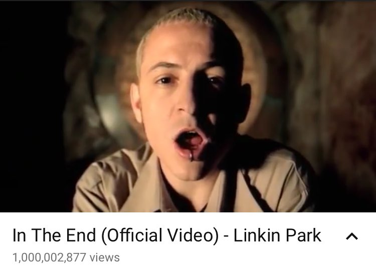 IN THE END HITS 1 BILLION VIEWS @LINKINPARK 🎉