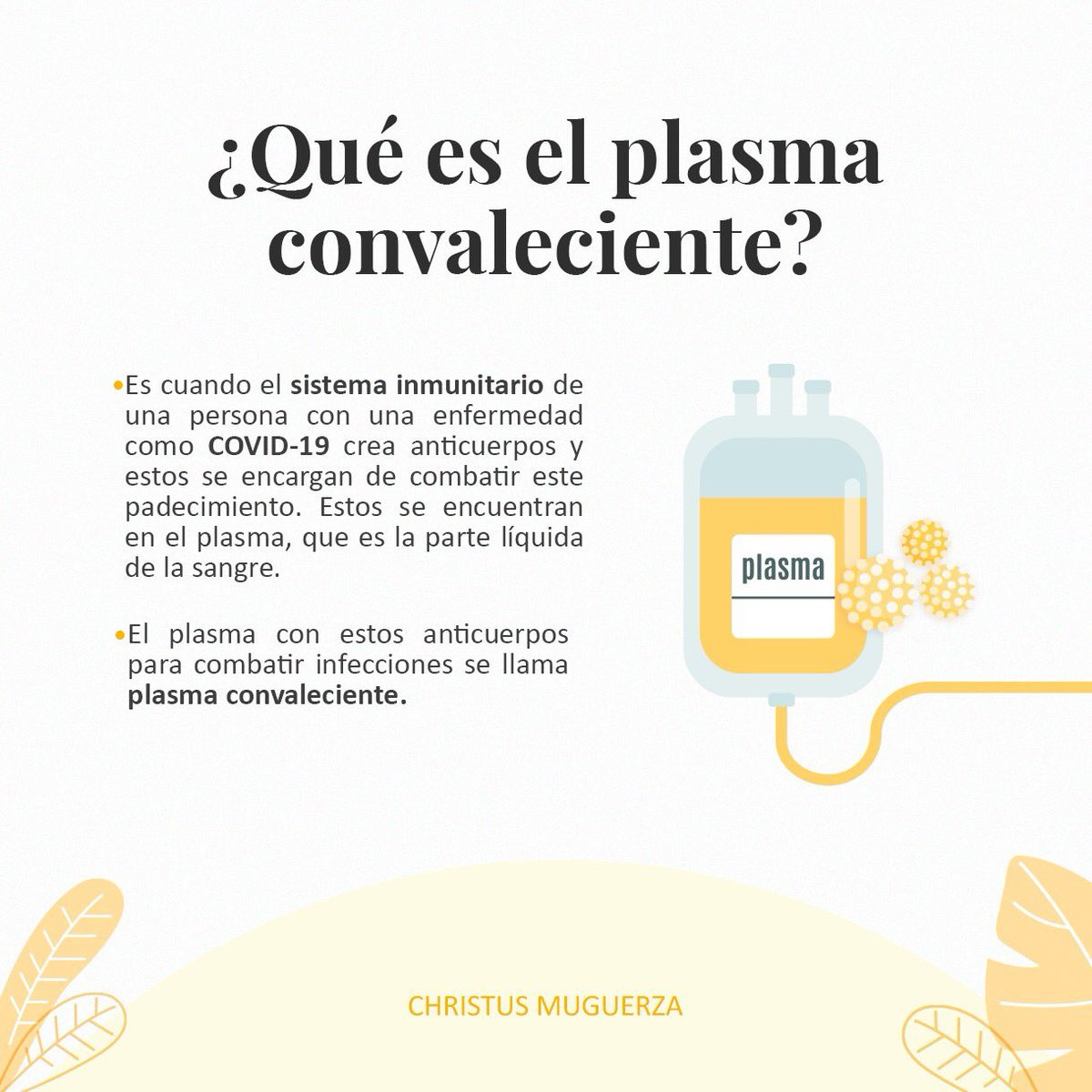 Conoce qué es el plasma convaleciente. Si has dado positivo a COVID-19, tus #anticuerpos podrían ayudar a aquellos que actualmente están enfermos con el virus.   Agenda tu cita en: https://t.co/uBoVaj4vpi #DonarÉstaEnTuSangre. https://t.co/daefoe7kGJ