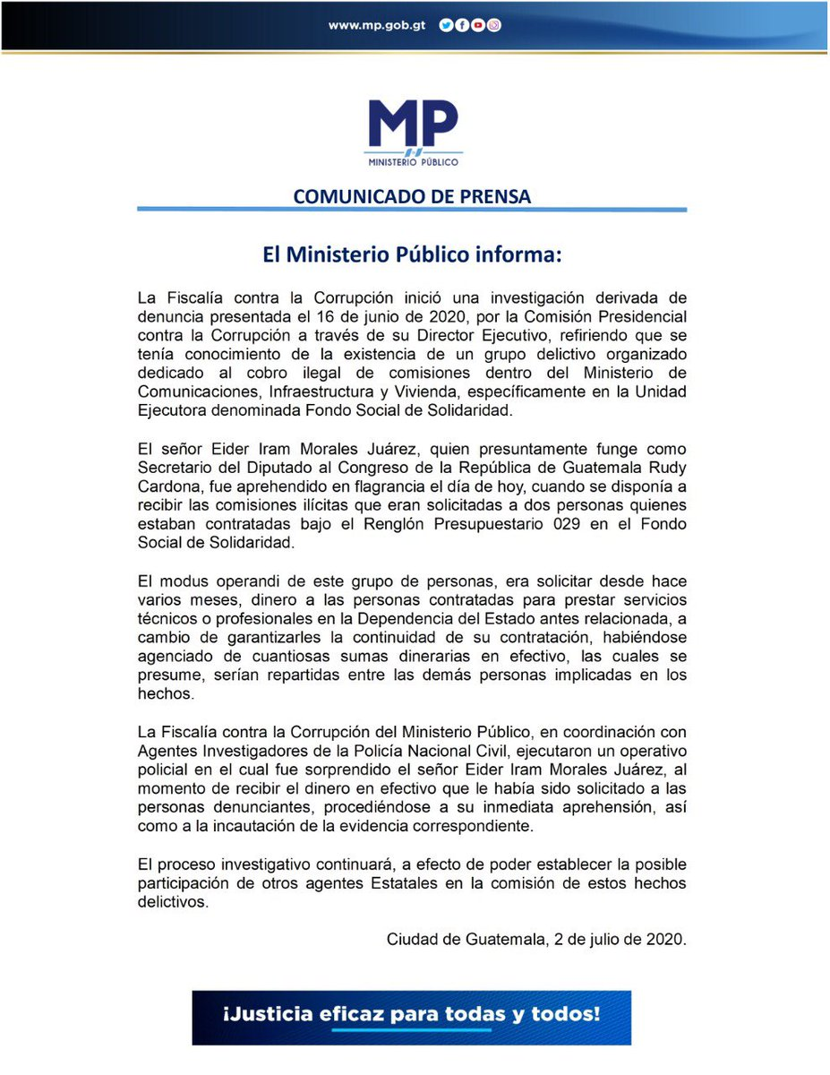 test Twitter Media - El MP informa sobre una investigación de la Fiscalía Contra la Corrupción en el Ministerio de Comunicaciones. https://t.co/x2VU9QqqLm