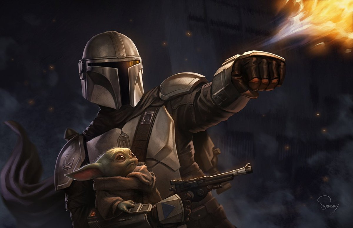 """""""Hold on Kid, we're shooting our way out!"""" #TheMandalorian #StarWars<br>http://pic.twitter.com/ssha1DSQNV"""