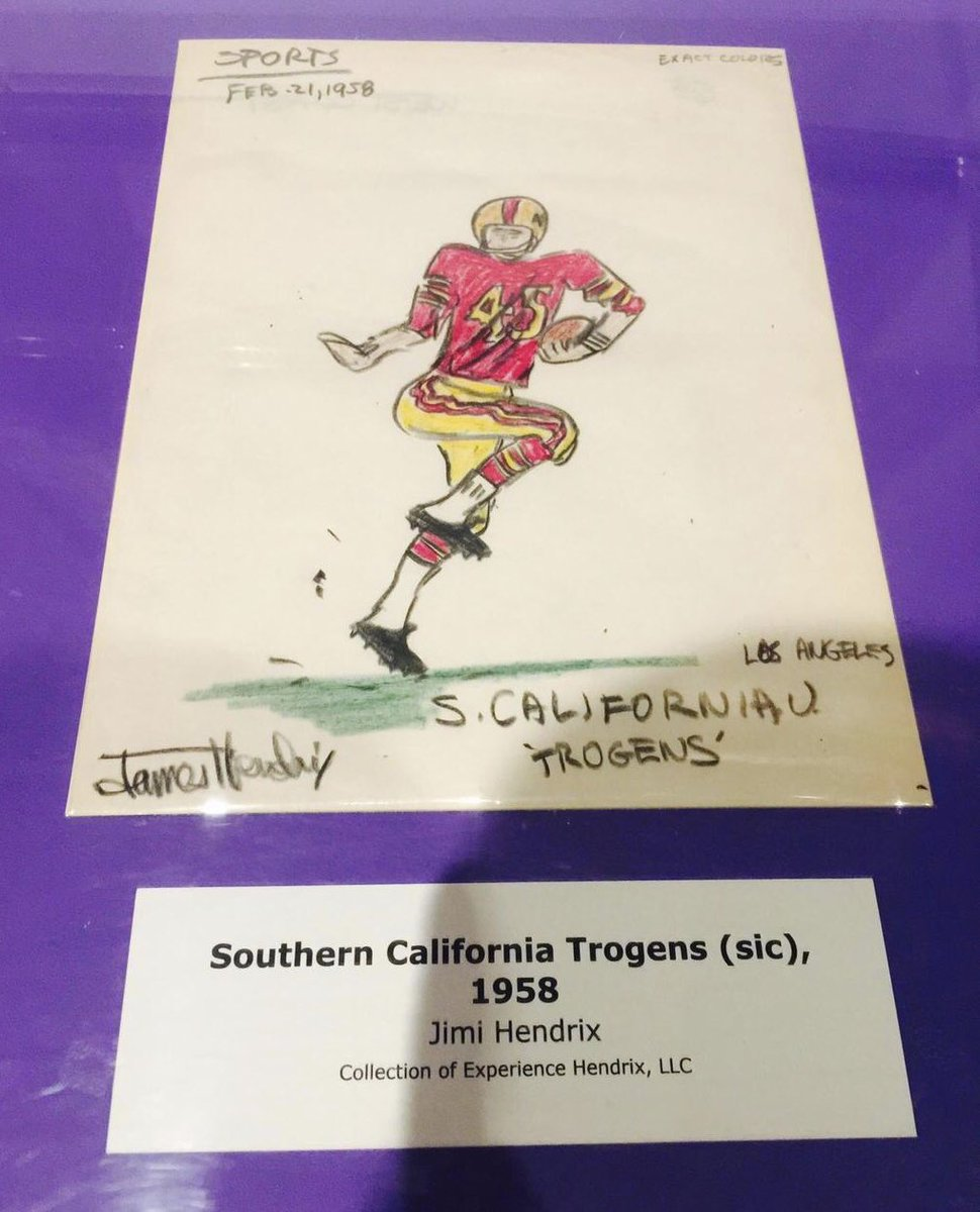 """A drawing by 15-year-old James """"Jimi"""" Hendrix. #FightOn   #TBT"""