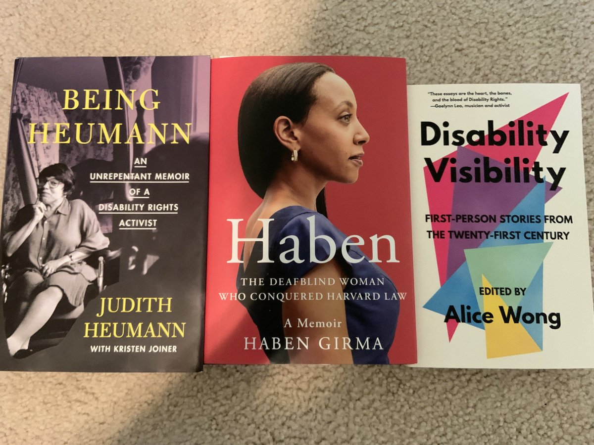 In honor of #DisabilityPrideMonth here are the newest additions to my bookshelf!  [Visual Description: Three books lay in a row on a carpeted floor. In order from left to right @judithheumann 's memoir Being Heumann, @HabenGirma's Haben, and @SFdirewolf's Disability Visibility] https://t.co/swZ06lOp7u