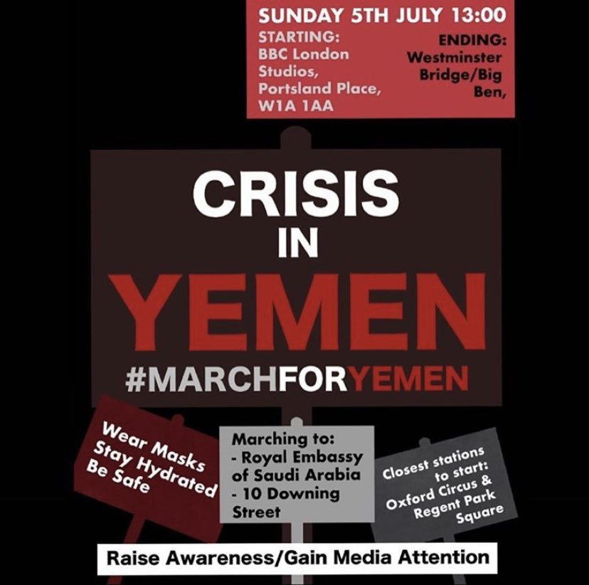 Barely anyone is talking about this protest and it's sad. Yemen are in need of humanitarian assistance, children are being killed in this conflict and we need to do more than just tweet about it. Give this protest the same energy and recognition you gave to all the other protests https://t.co/jW9hDYj7YW